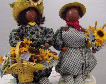 Black sunflower dolls