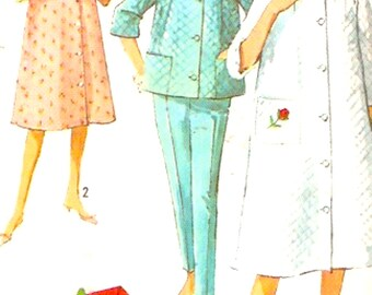 60s Mod robe top and pants lingerie vintage sewing pattern Simplicity 5205 Bust 32