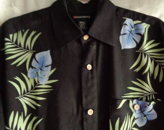 Vintage shirt black rayon blue and green leaves