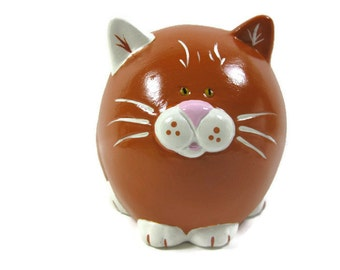 Pumpkin the  Orange and White  Fat Cat Piggy Bank , Coin Bank