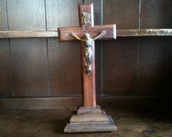 Vintage French Large Jesus Cross Crucifix Catholic Religious circa 1950's / English Shop