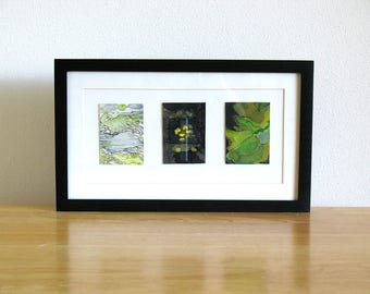Small framed original watercolor art, black and green abstract art, Planet X Triptych