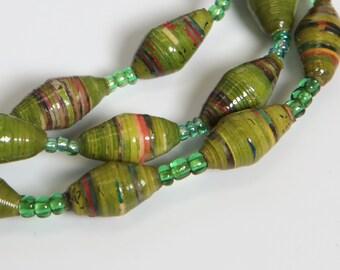 Paper Bracelet Single Stretch/Olive Green/SM/Recycled/JJ-BR-1