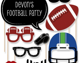 Football Photo Booth Props - Football Photobooth Kit with Custom Talk Bubbles for End Zone - Baby Shower or Birthday Party - 20 Pcs