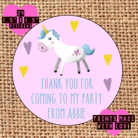 Personalised unicorn party bag sweet cone stickers labels