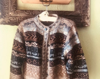 M angora /wool button up sweater