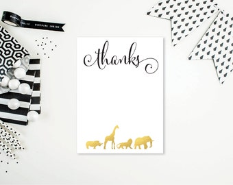 Gold Safari Animal Thank You Cards - Flat or Folded - A2 Card Size - Shower/Party