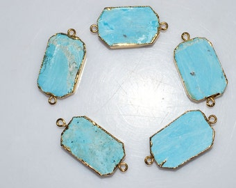 Matte Magnesite Turquoise Electroplated Egde-Magnesite Turquoise Octagon 24k Gold Plated Connector Pendant , 32-34 mm , AH051