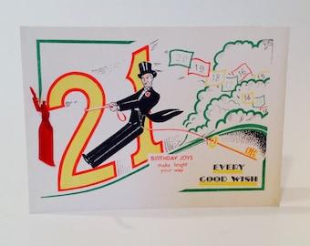 Vintage 21st Birthday card every good wish (unused)