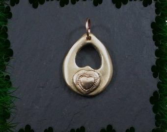 Copper on bronze heart teardrop pendant