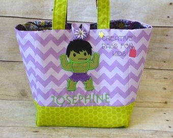 Marvel Tote Bag/ Marvel Lunch Bag/ Kids Tote Bag/ Children Bag/ Hulk Purse/ Books Children Bag/ School Lunch Bag/ Girls Marvel Purse