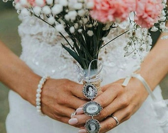 Bridal Bouquet charm; Memory Locket for Bride;flower photo charm; charm for bouquet;memory pendant;wedding bouqet charm;trio memory charm