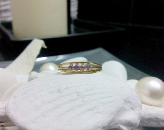 SALE! Alexandrite ring, june birthstone ring, light purple ring, lavender ring, gold ring, gemstone ring,tiny stack ring