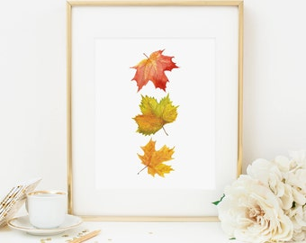 Fall Leaves Printable Fall Decor Fall Wall Art Thanksgiving Decor Fall Leaves Maple Leaf Print Thanksgiving Printable Fall Printable Orange