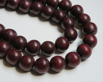 Chocolate Brown wood beads round 12mm full strand eco-friendly Cheesewood 9500NB