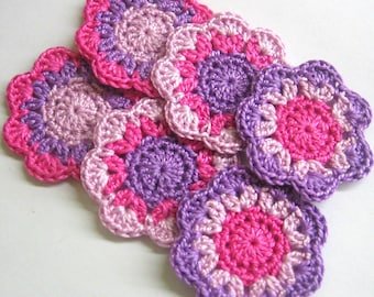 Flower appliques, handmade 2 inches crochet cotton motifs in pink and purple, 6 pc.