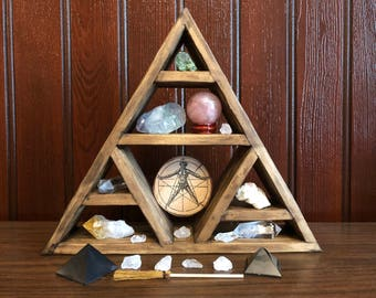 Crystal Triangular Display Shelf || Wicca || Witchcraft || Chakras || Pagan || Magic || Spirit || Handmade