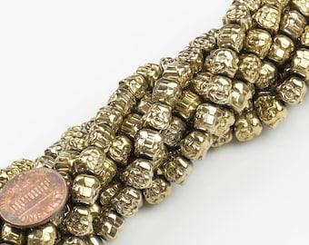 8mm Buddha Hematite Strand- 16 inch strand- Light Gold