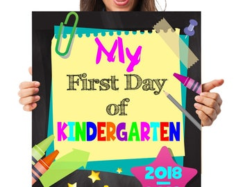 First Day of Kindergarten Sign First day Kindergarten Back to School Chalkboard Back to School Sign First day of school sign 1st Day School