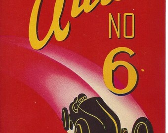 Vintage Auto No 6 Windsor Broom Co. Original Lithograph Broom Label,  1930s