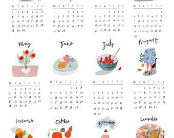 2018 Wall Calendar illustrated Print - calendar - wall calendar - art print - Christmas Gift - wall art - office stationary - desk calendar