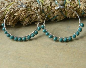 Hoop earrings turquoise glass hoops bohemian jewelry beaded earrings boho beaded jewelry big earrings gift for her gypsy jewelry free spirit