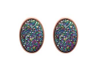 Druzy Stud Earrings - Druzy Studs - Peacock Druzy - Rose Gold Studs - Large Oval Studs - Rose Gold Stud Earrings
