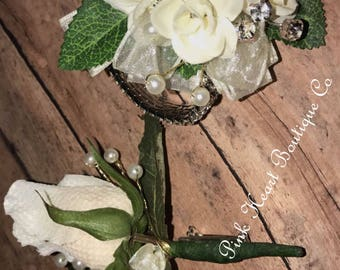 Ivory Corsage and Boutonniere...Weddings,Mother of the Bride,Prom...etc