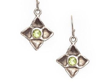 dogwood flower silver earrings with peridots
