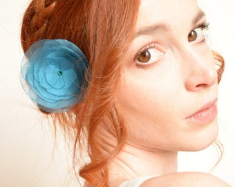 Teal blue organza flower barrette