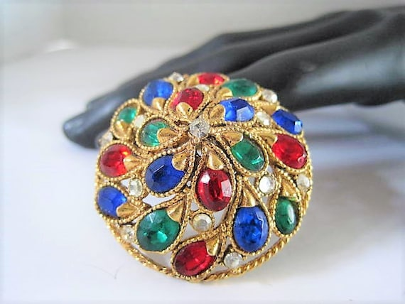 Florenza Brooch, Bright Rhinestones, Dome Shaped, Victorian Revival,  Round Pin