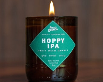 Hoppy IPA Brew Candle - Hand Poured in USA (Soy Wax) - Great Gift For Beer Lovers (made from recycled beer bottles)