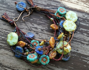 Tangled - Knotted Beaded Bracelet - Multi Strand Bracelet - Small Bracelet - Turquoise and Blue - Earthy Jewelry - Boho - Bead Soup Jewelry