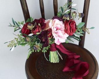 Burgundy, Deep Red, Salmon Pink and Light Peach Silk Flower Wedding Bouquet | Moody Romantic Bridal Bouquet | SG-1048