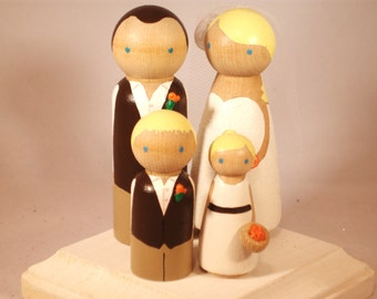 Family of 4 Wedding Cake Toppers - Fully Customizable---3-D Accent --Country - Rustic