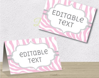 Editable PDF Printable - Pink and Grey - Zebra Label / Sticker / Tent Card / Tags / Place Card - DIY