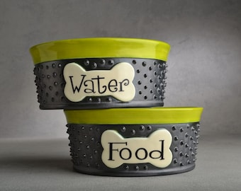 Dog Bowl Set Personalized Made To Order Spiky Dog Bowls by Symmetrical Pottery
