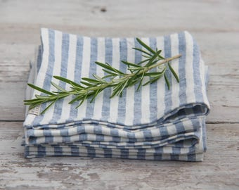 Nautical linen cloth napkins, striped in white and blue. Set of 4,6,8,10. Set of washed linen napkins. Soft.