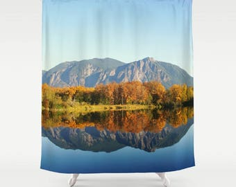 Fabric Shower Curtain  - Mt Si Reflection, Autumn, PNW Wilderness, Rustic Decor, Nature Photography, bathroom,