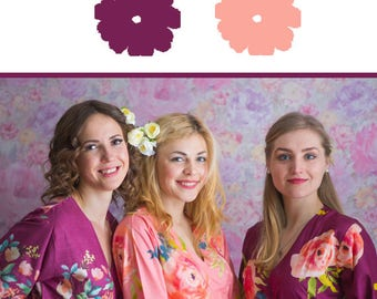 Plum and Peach Wedding Color Bridesmaids Robes - Premium Soft Rayon - Wider Belt and Lapels - Wider Kimono sleeves