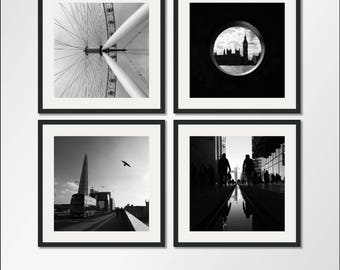 The Black And White London Collection: Set Of Four Prints, London Prints, London Print Set, Photography Print Set, Photo Set, Print Set
