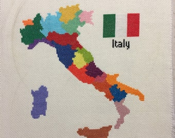 Italy Map Cross Stitch Pattern