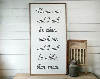 Psalm 51:7 Sign, Scripture Sign, Bible Verse Sign, Cleanse Me Sign, Whiter Than Snow, Scripture Gift, Chrstian Gift, House Warming PS1093