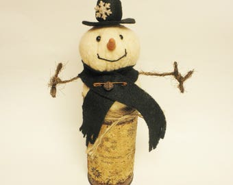 Primitive Snowman Soup, Christmas Decor, Snowman Decorations