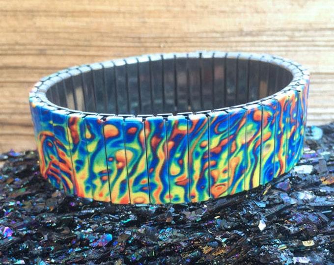 Oil slick - stretch bracelet - Stainless Steel - Wrist Art - Sublimation - Design - gift for friend