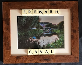 Scrabble frame wall art canal photography