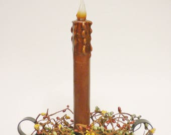 Black Candle Pan with Taper and Pip Berries, Country Lighting, Primitive Fall Decor