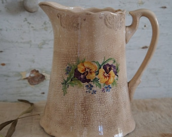 Antique Semi Porcelain Pitcher with Pansies