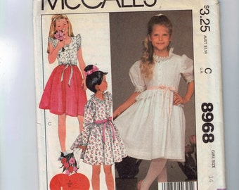 1980s Vintage Sewing Pattern McCalls 8968 Girls Party Dress Size 14 Breast Bust Breast Chest 32 1984 80s