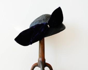 Vintage Straw Tilt Hat with Bow, Cap Hat, Vintage Hat, Vintage Women Hat, Sun Hat, 1950s Straw Hat, Vintage Half Hat, Boho Hat